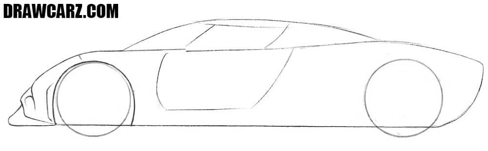 How to draw a Koenigsegg Regera for beginners