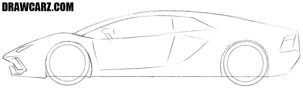 How to draw a Lamborghini Aventador easy