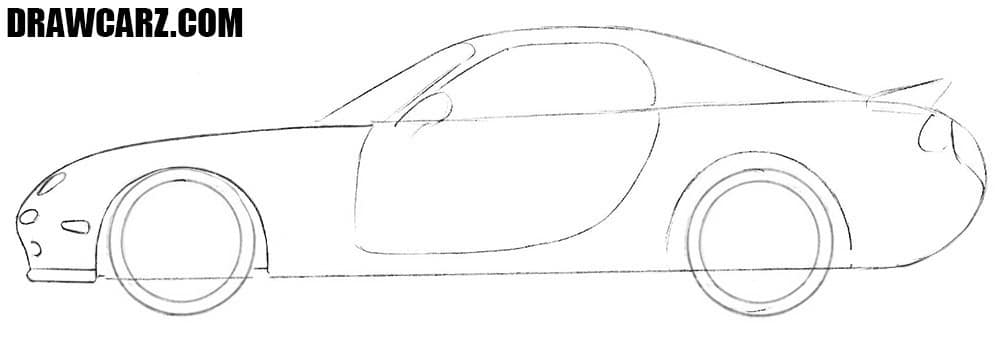 How to draw a Mazda RX-7 easy
