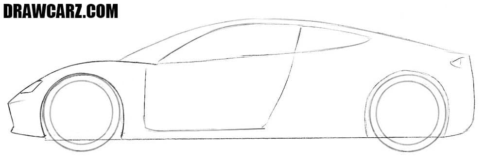 How to draw a Tesla Roadster easy step by step