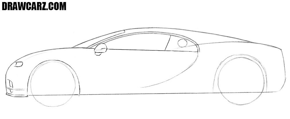 How to draw a bugatti chiron side view