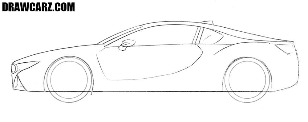 BMW i8 drawing sketch