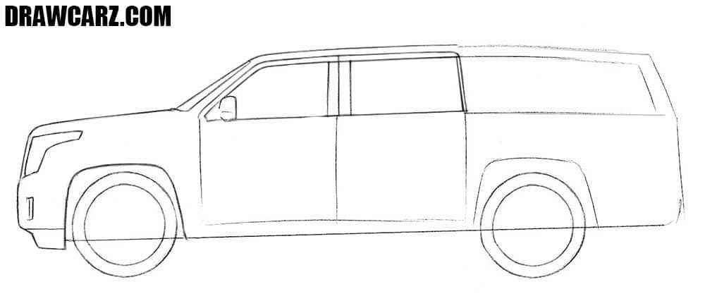 How to draw a Cadillac Escalade step by step