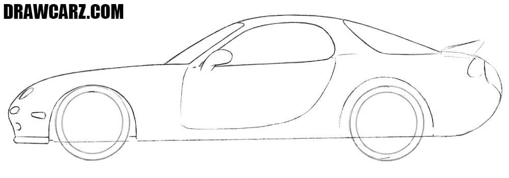 How to draw a Mazda RX-7 step by step