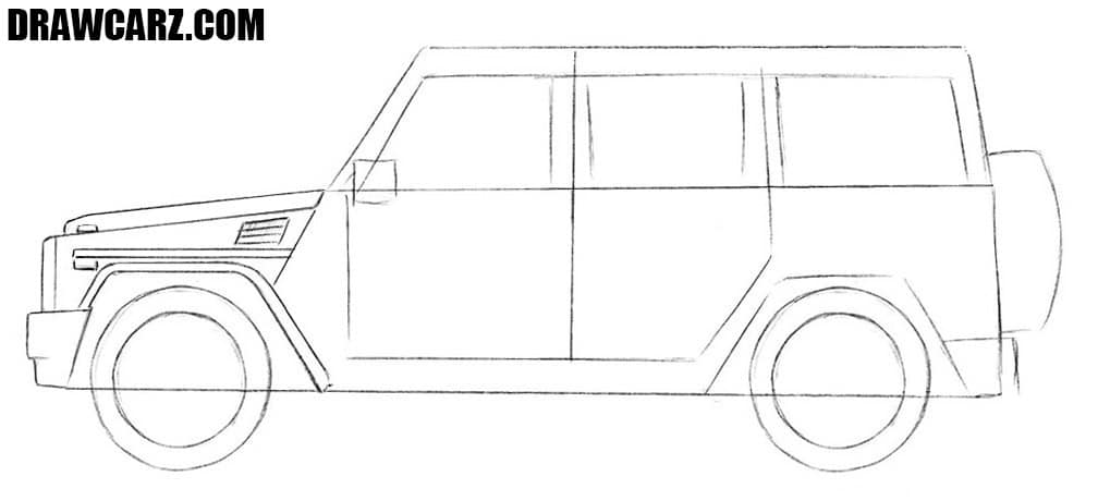 How to draw a Mercedes-Benz G-Class step by step