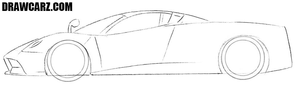 How to draw a Pagani car