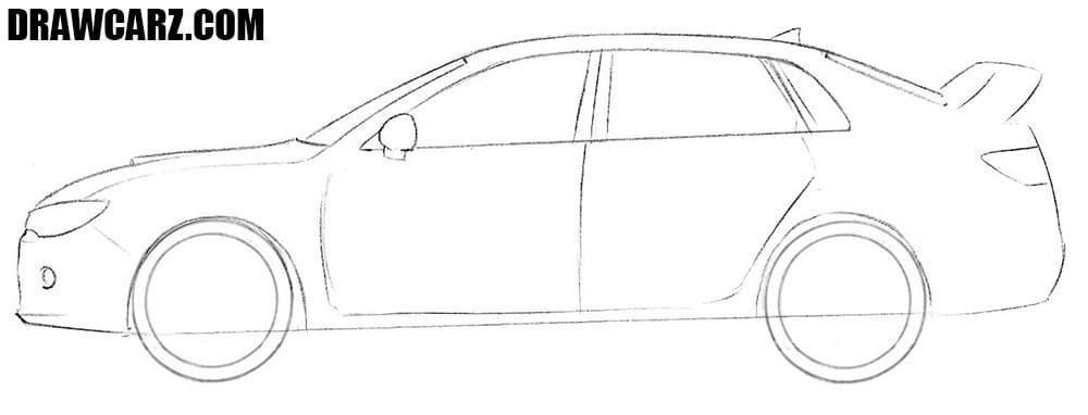 How to draw a Subaru Impreza