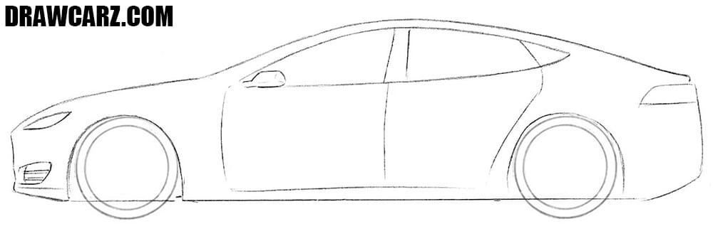 How to draw a Tesla Model S easy