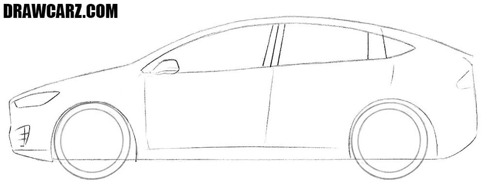 How to draw a Tesla easy