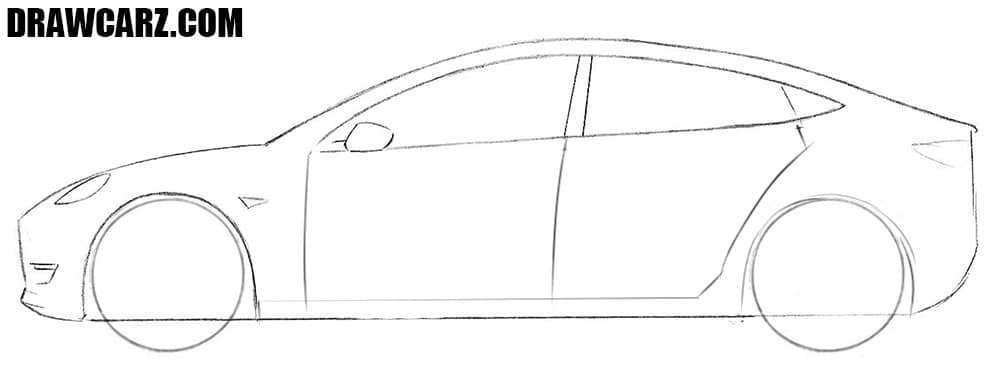 How to sketch a Tesla Model 3