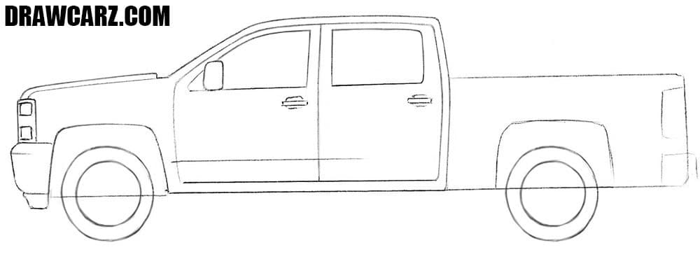 How to draw a Chevrolet pickup Truck