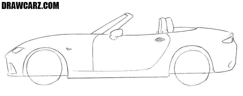 How to draw a Mazda MX-5 sports car