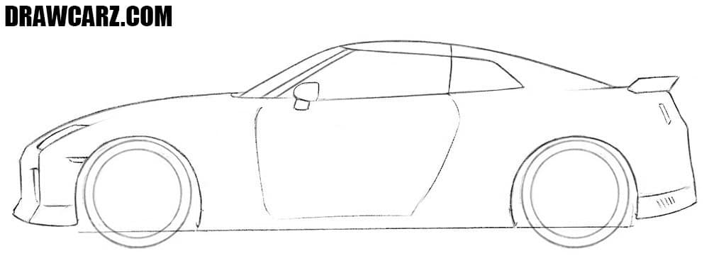 How to draw a Nissan sports car