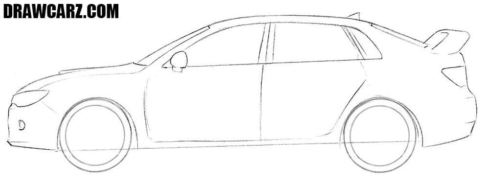 How to draw a Subaru Impreza WRX step by step