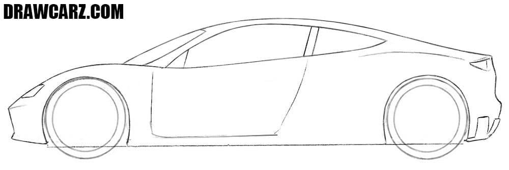 How to draw a Tesla Roadster side view