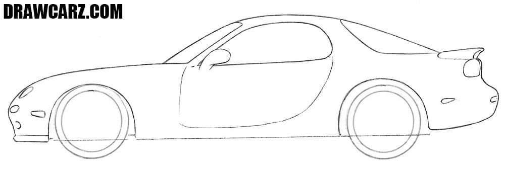 How to draw a classic sports car
