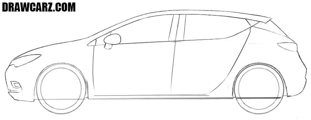 How to draw an Opel Astra easy step by step