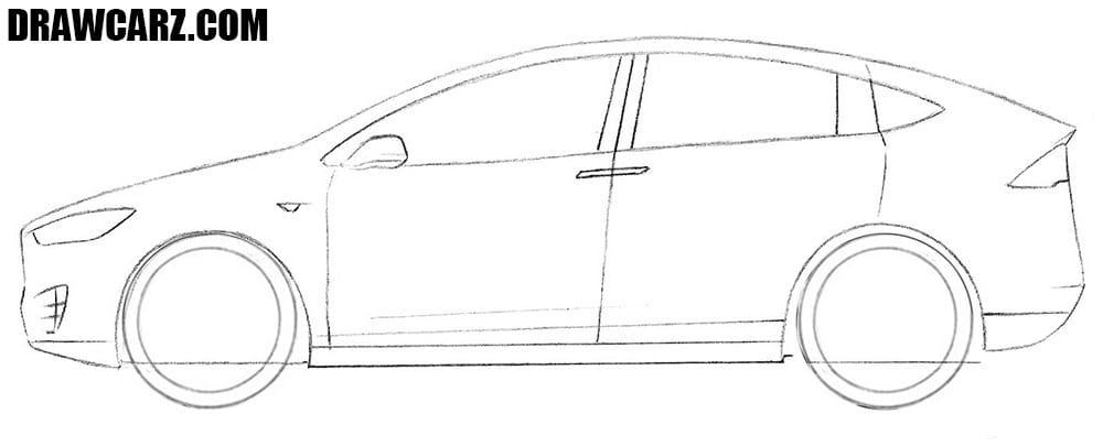 How to sketch a Tesla Model X