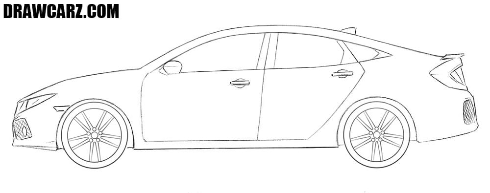 Honda Civic drawing tutorial