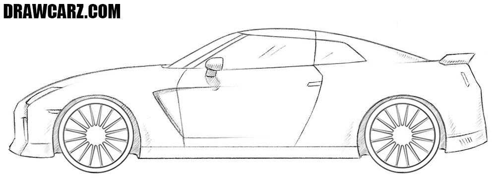 How to Draw a Nissan GT-R | DrawCarz