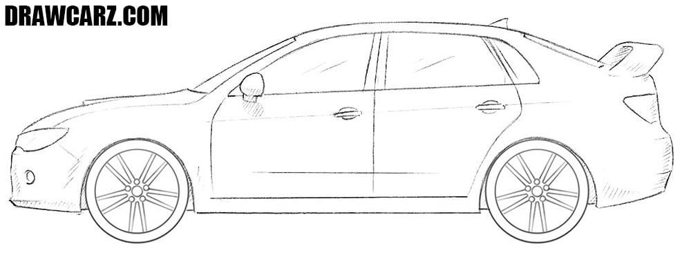 How to draw a Subaru Impreza WRX