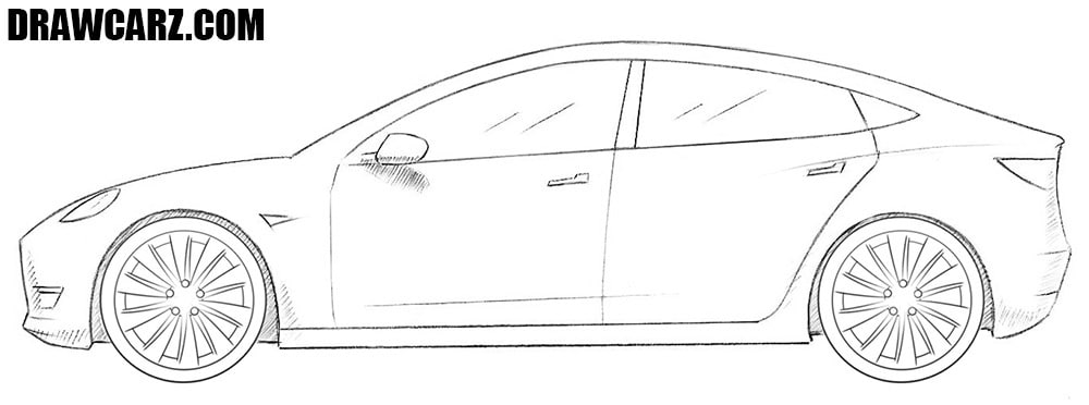 How to draw a Tesla Model 3