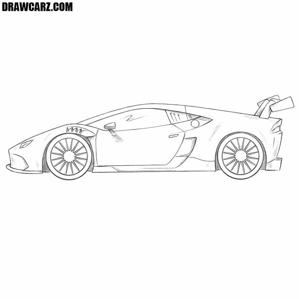 how to draw a race car drawcarz. Black Bedroom Furniture Sets. Home Design Ideas