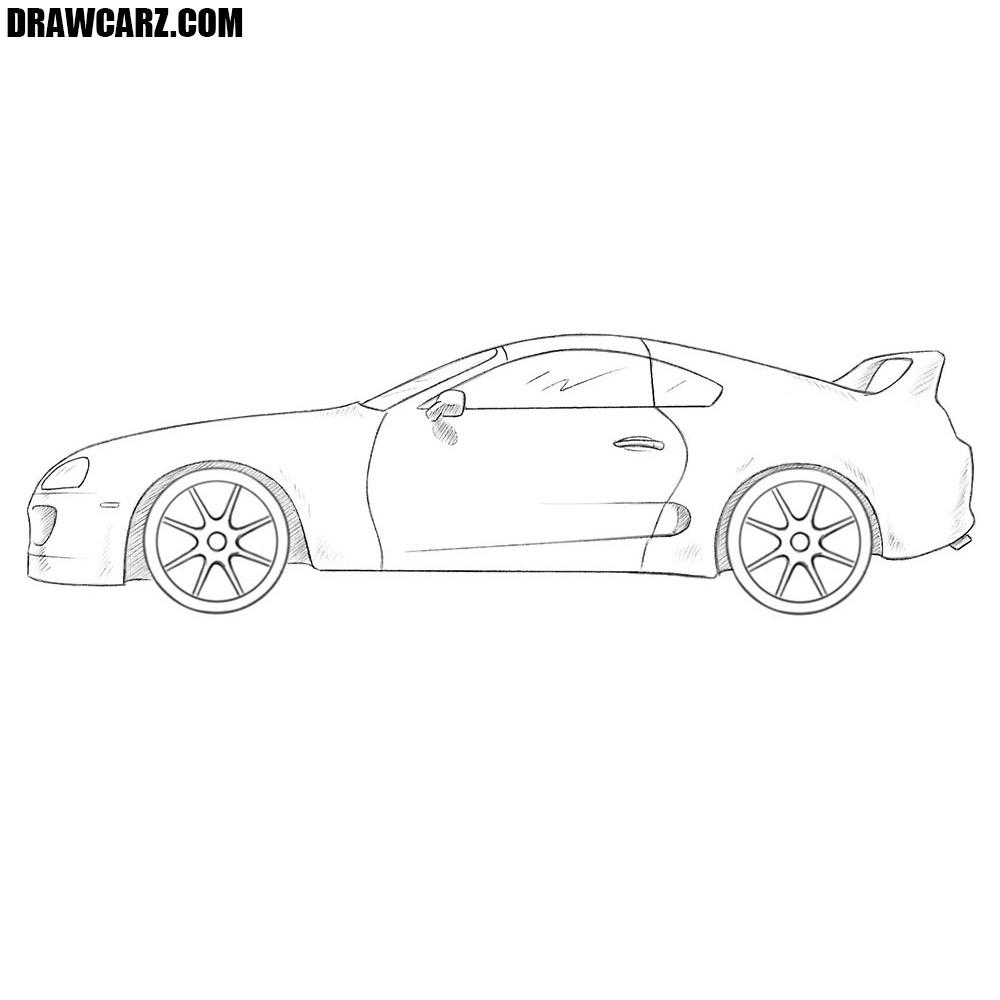 How to draw a toyota supra drawcarz