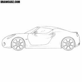 How to draw an Alfa Romeo 4C