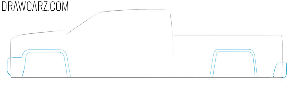 how to draw a truck easy side view