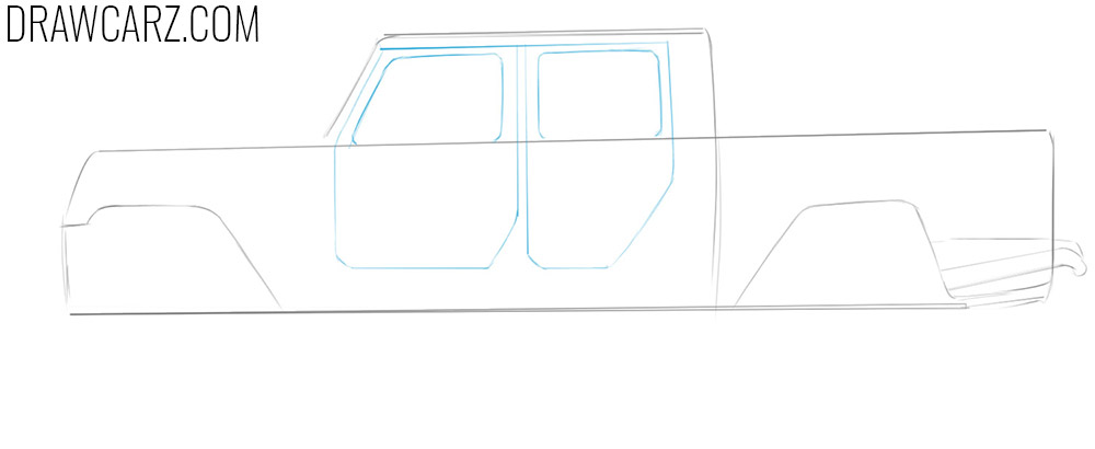 how to draw a Jeep Truck from the side