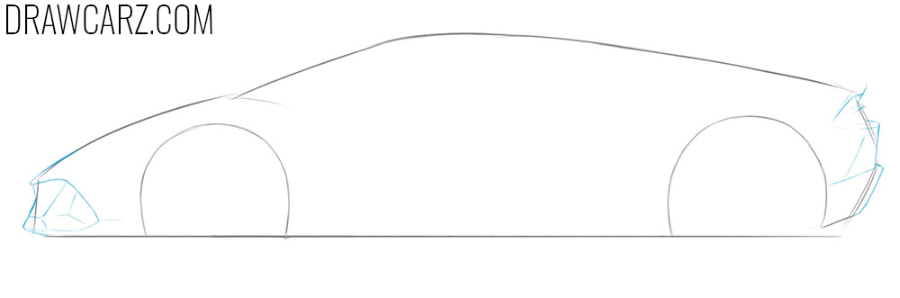 how to draw a lamborghini huracan side view