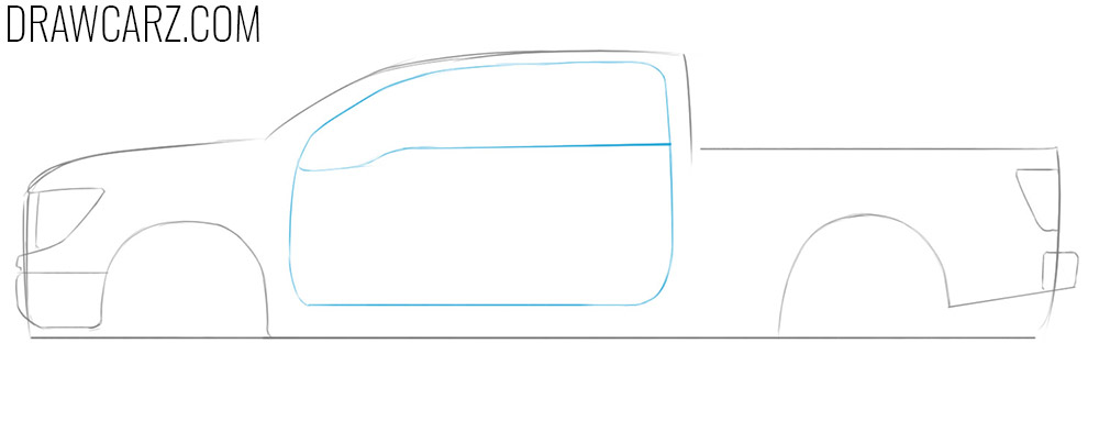 how to draw a diesel truck from the side