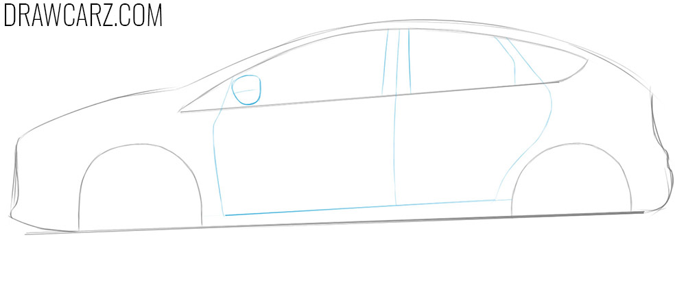 how to draw a ford focus rs from the side