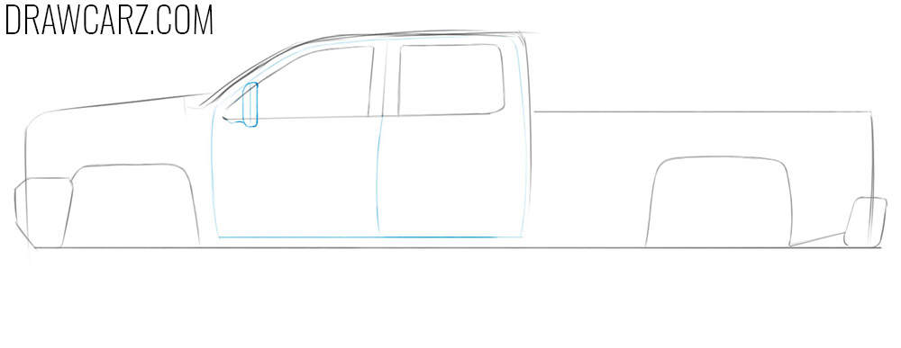 how to draw a pickup truck from the side