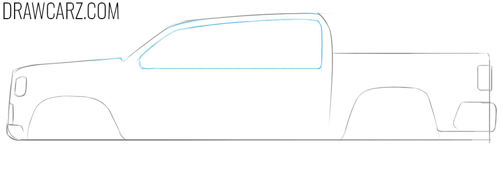 how to draw a simple truck side view