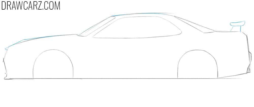 how to sketch a nissan skyline gtr r34 step by step