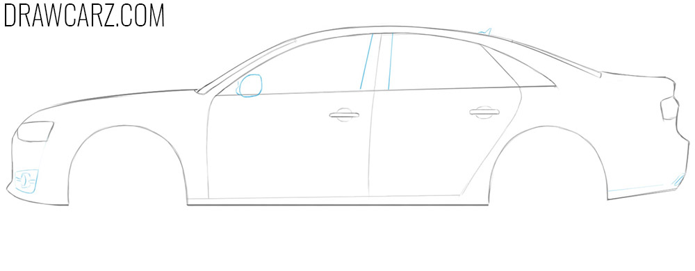 how to draw a audi sports car