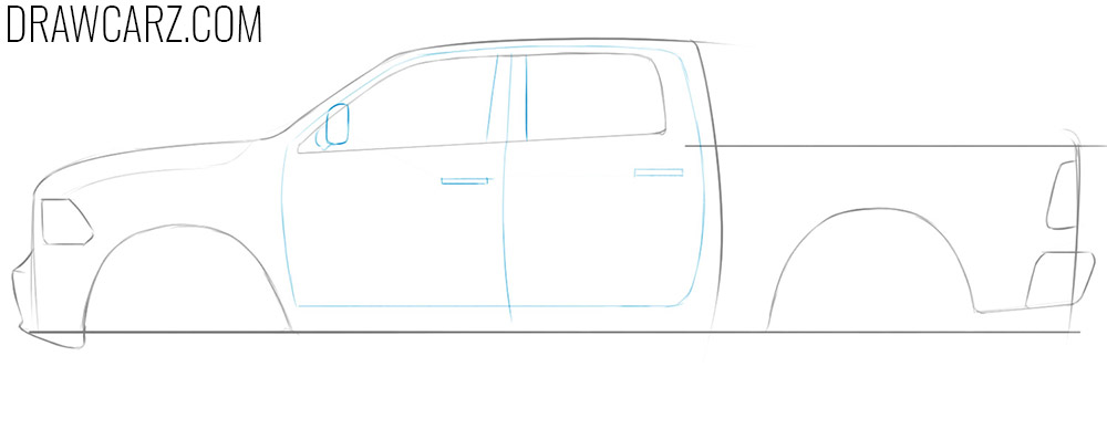 how to draw a dodge truck