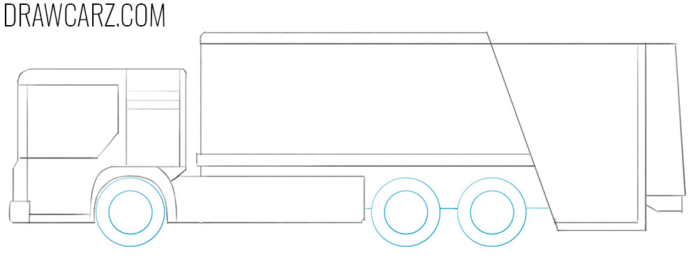 how to draw a garbage truck step by step