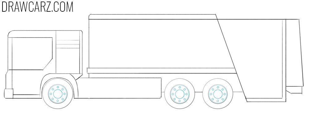 how to draw a Garbage Truck easy