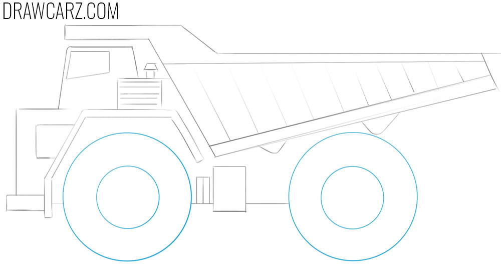 how to draw a big dump truck