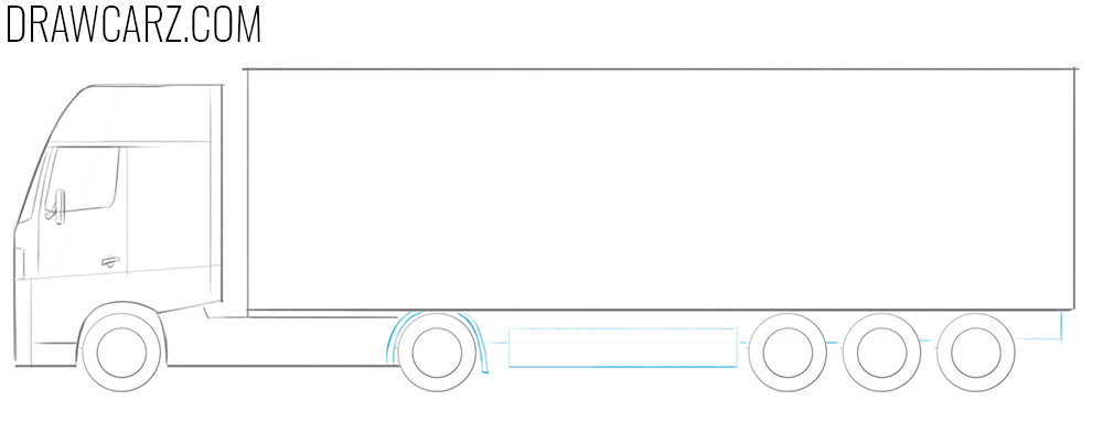 how to draw a big truck easy