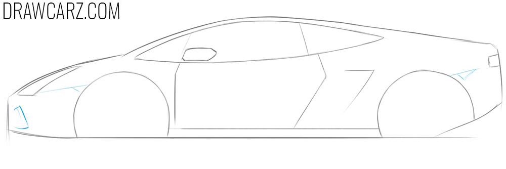 how to draw a cartoon lamborghini step by step