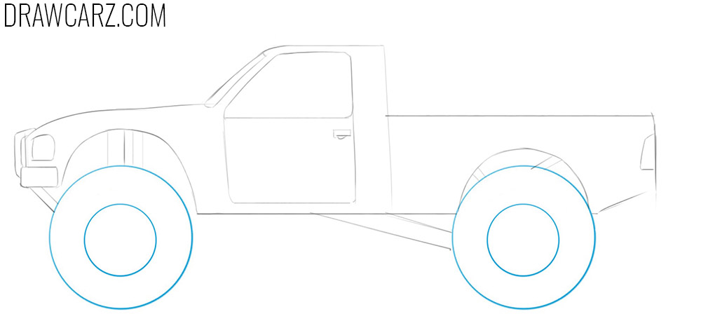 how to draw a off road truck step by step