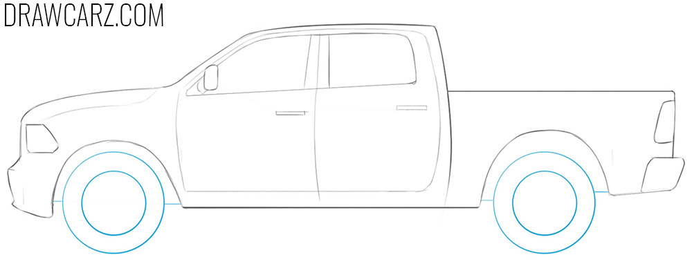 how to draw a ram truck easy