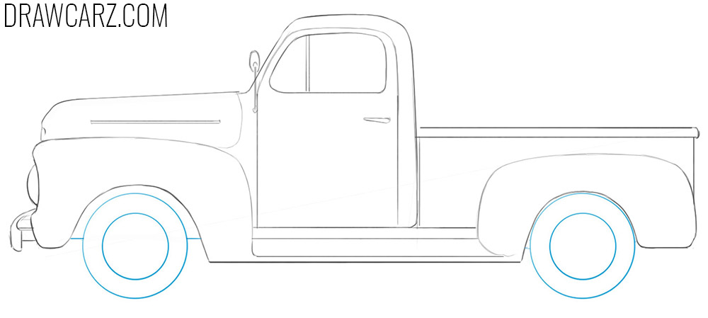 how to draw an old ford truck step by step