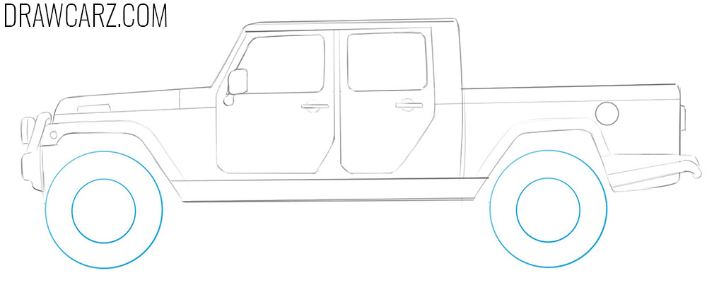 how to draw a Jeep Truck step by step