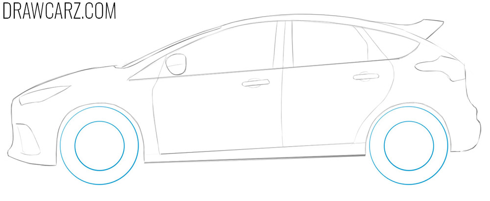 how to draw a ford focus rs step by step