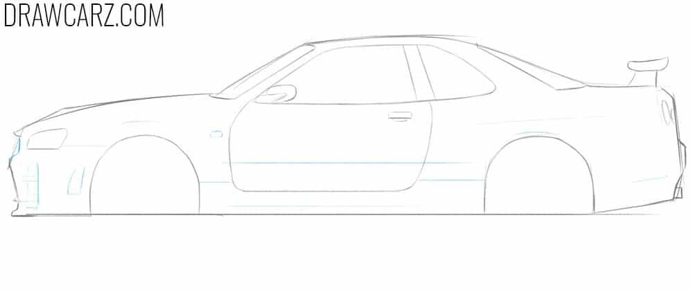 how to draw a nissan skyline gtr